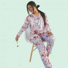 Pijama Satín Flores
